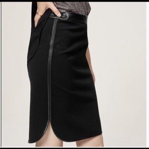 Faux Leather Trim Skirt